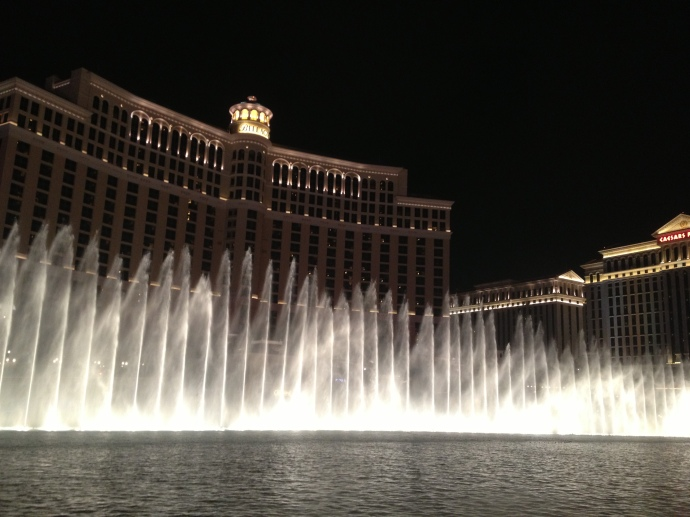 Bellagio Fountains, moving to the music of Celine Dion.