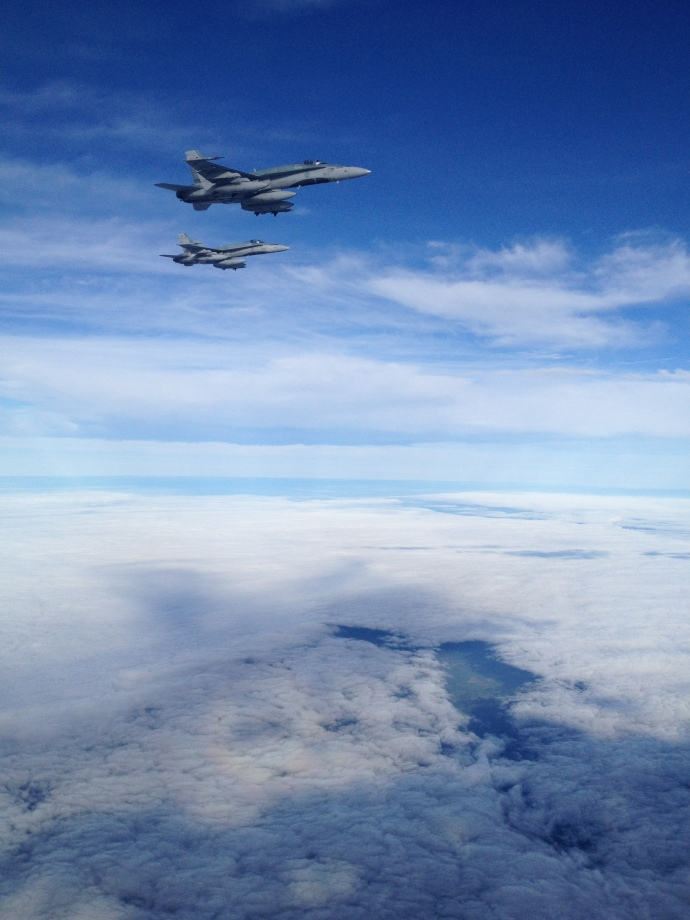 CF18s escorting my aircraft and troops for a warm welcome home!