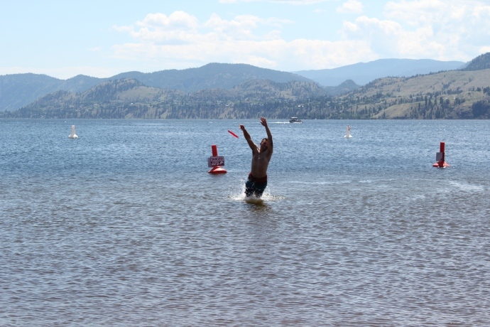 Me diving for a frisbee at Skaha Beach.