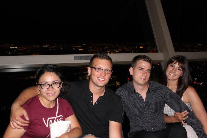 Amy, Jordan, Andre and Jen at the top of the Stratosphere, about 107 floors high.