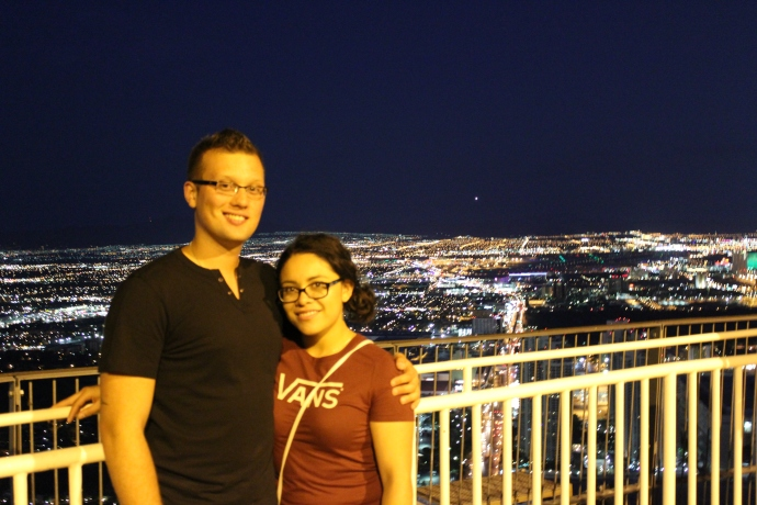 Amy and I at the top of the Stratosphere, about 107 floors high.