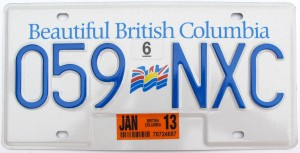 British Colombia License Plate